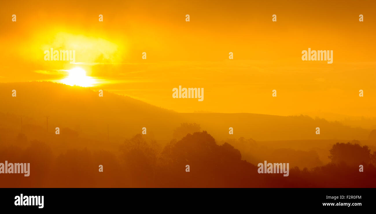 Sumava abstract fog sunrise - National park Sumava is most popular tourist destination - Stock Image