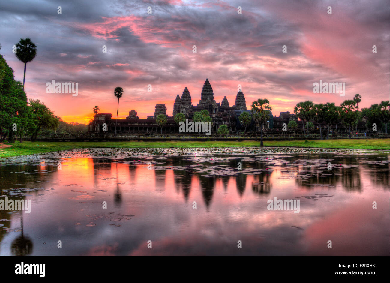 HDR Sunrise over Angkor Wat Stock Photo