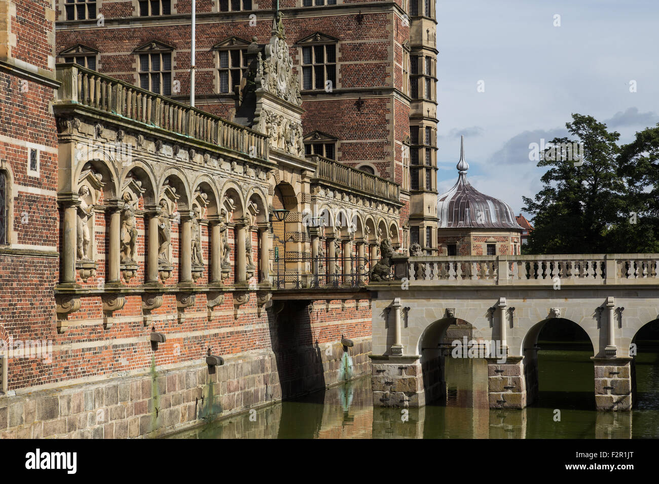 Photograph of the entry to Frederiksborg castle. - Stock Image