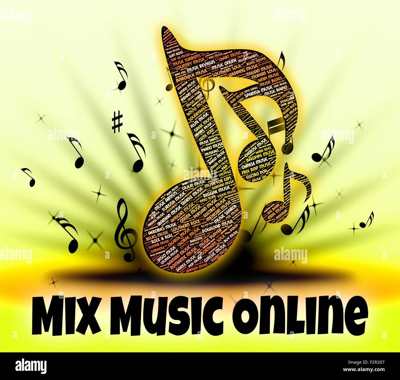 Mix Music Online Indicating Put Together And Combine Stock