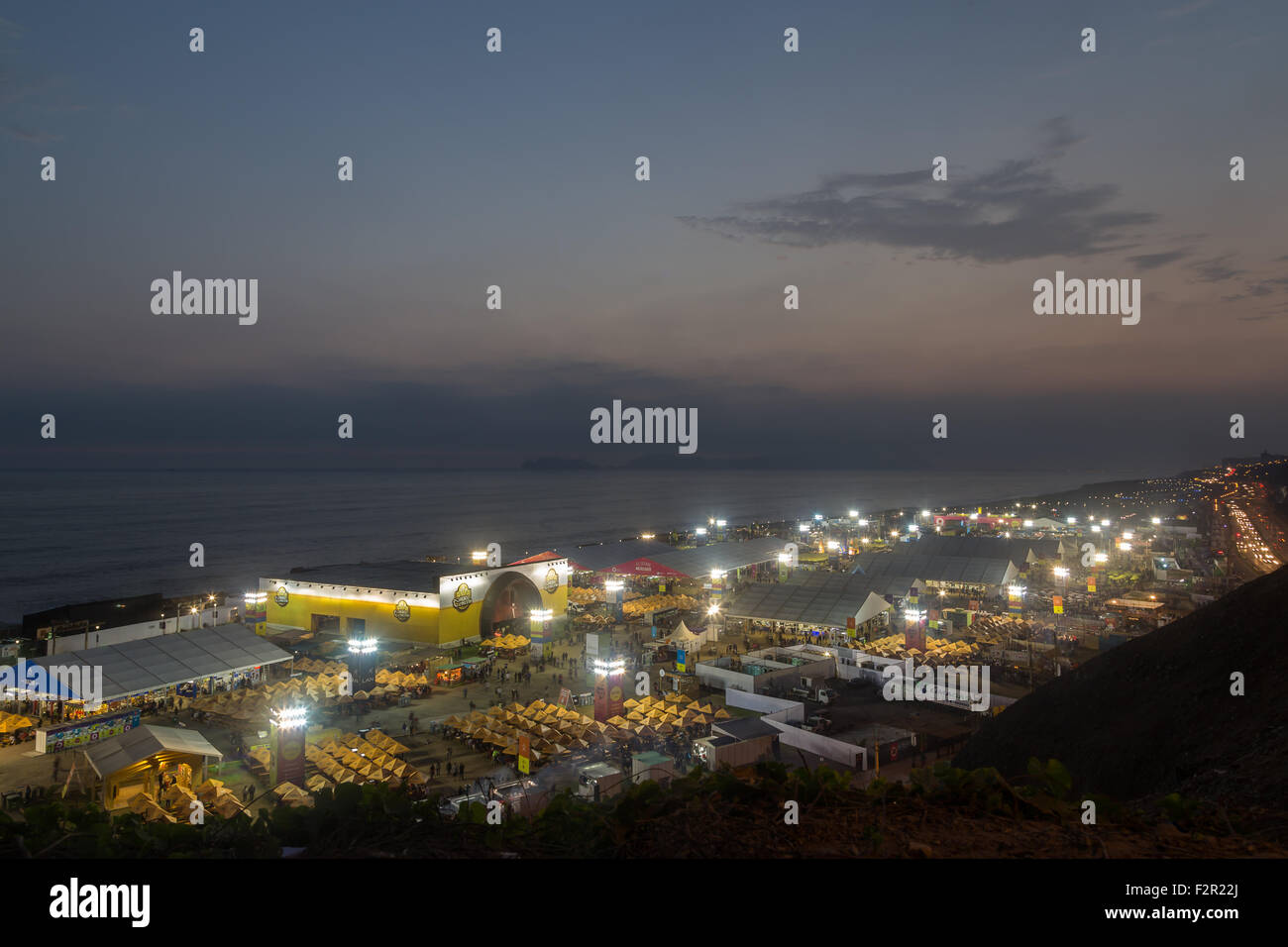 Lima, Peru - September 11, 2015: View of the annual food festival Mistura by night taken from above. - Stock Image