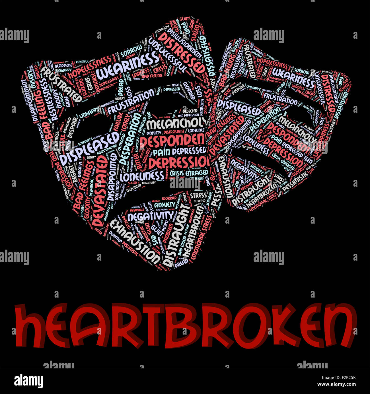 Heartbroken Word Representing Heavy Hearted And Grieving - Stock Image