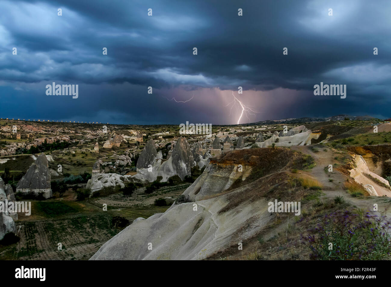 Cappadocia Lightning Storm Stock Photo