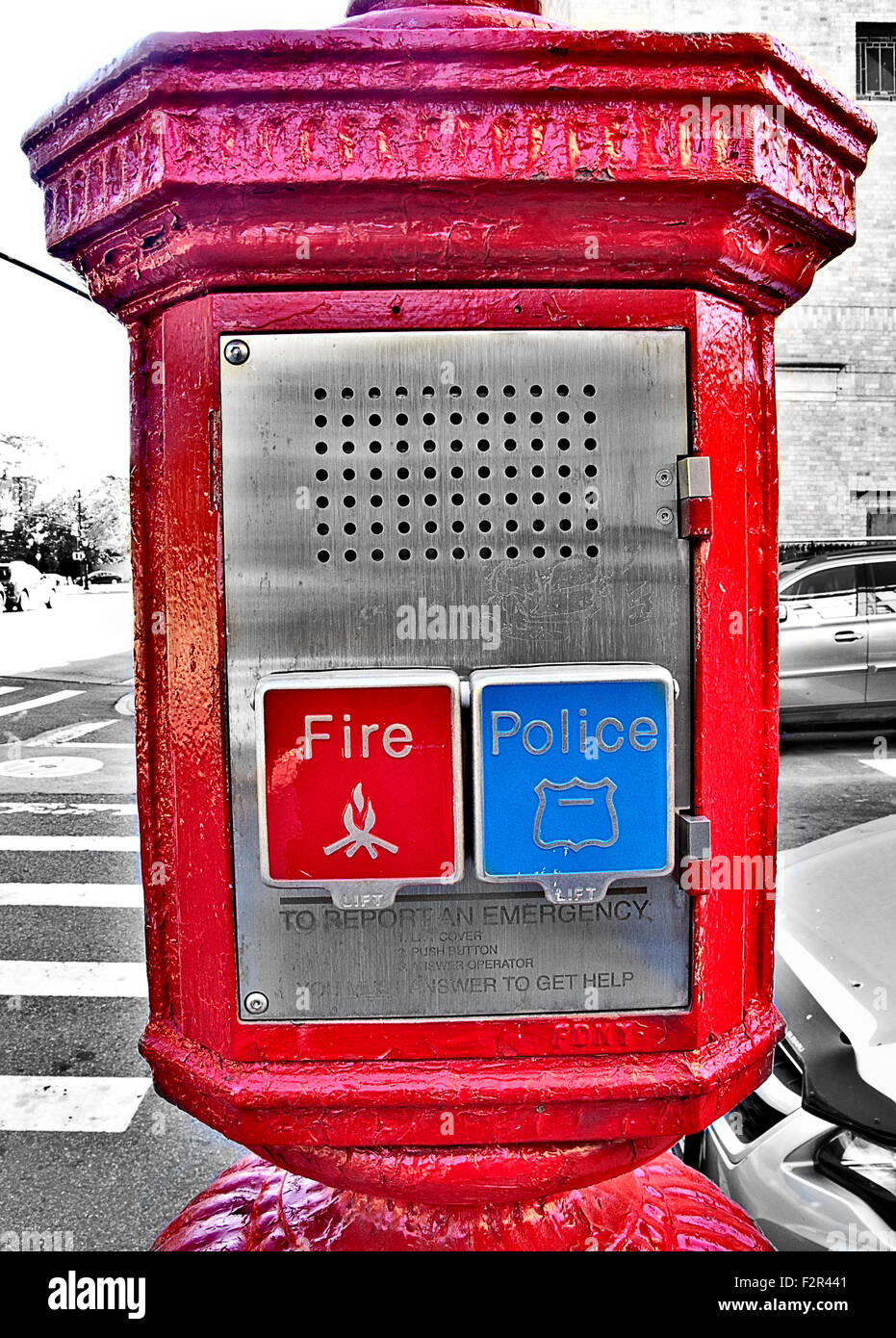 Public emergency call box phone with red fire department and