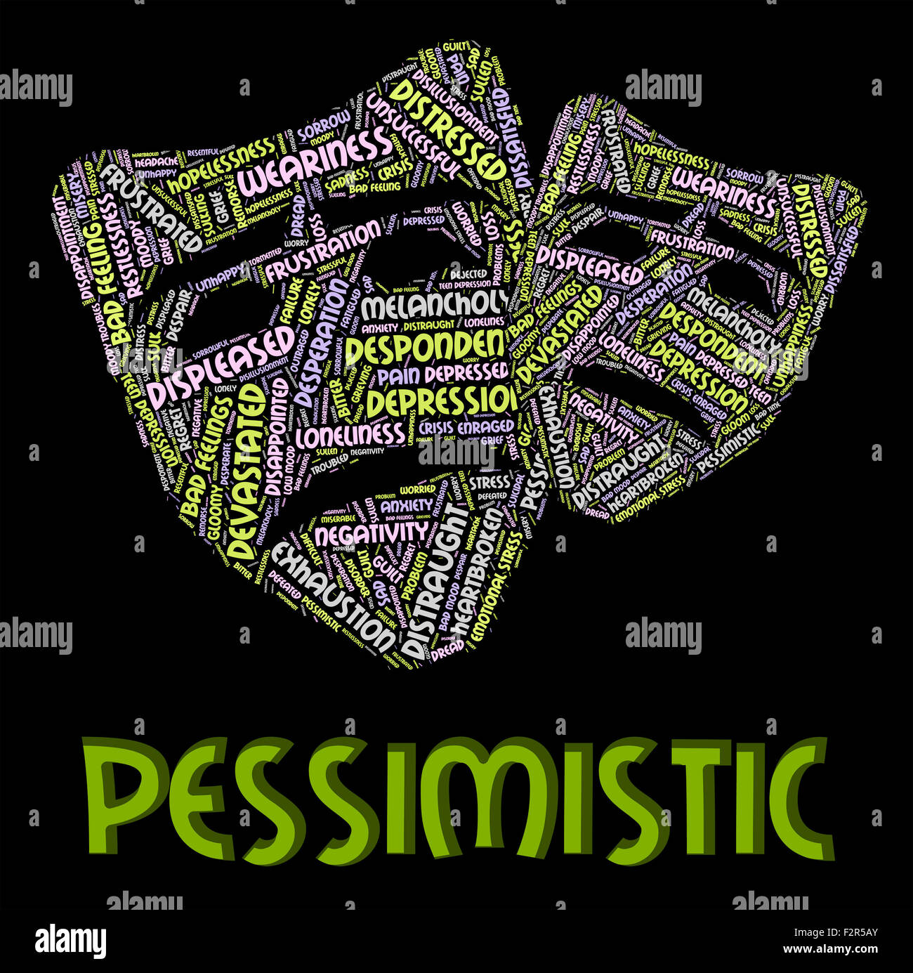 Pessimistic Word Meaning Demoralized Despondent And Melancholy - Stock Image