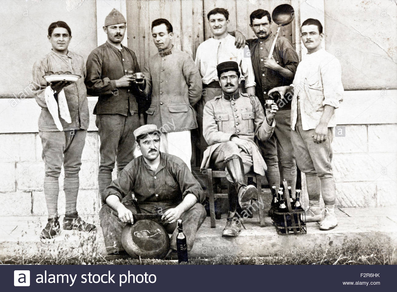 group portrait French soldiers 1910s - Stock Image