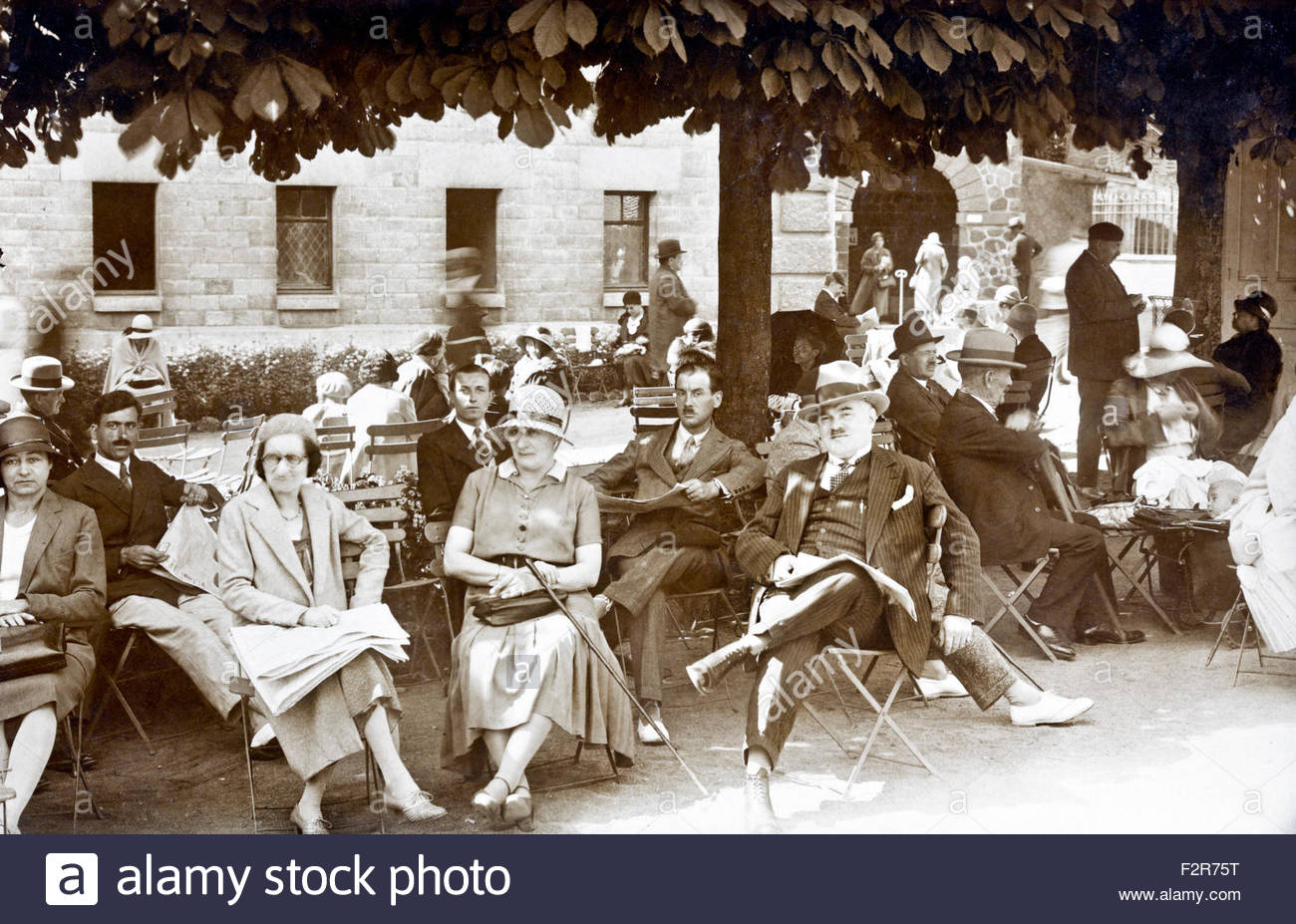 outdoors terrace France  c 1920s - Stock Image