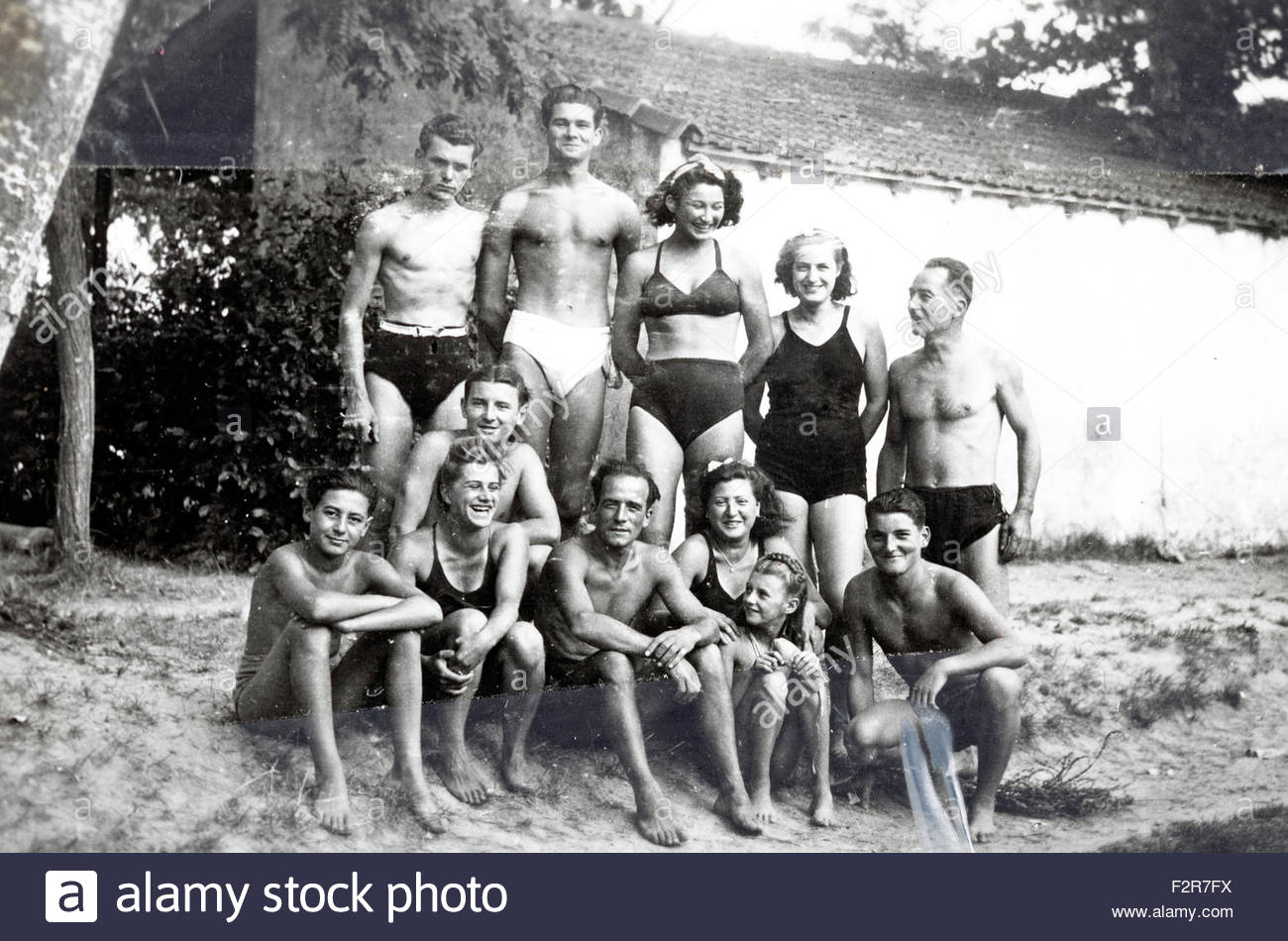 family and friends summer vacation snapshot with clear tape France 1950s - Stock Image