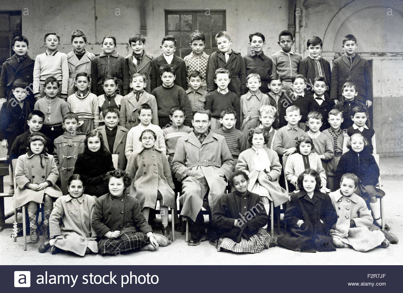 multi cultural elementary school group France year 1954 1955 - Stock Image