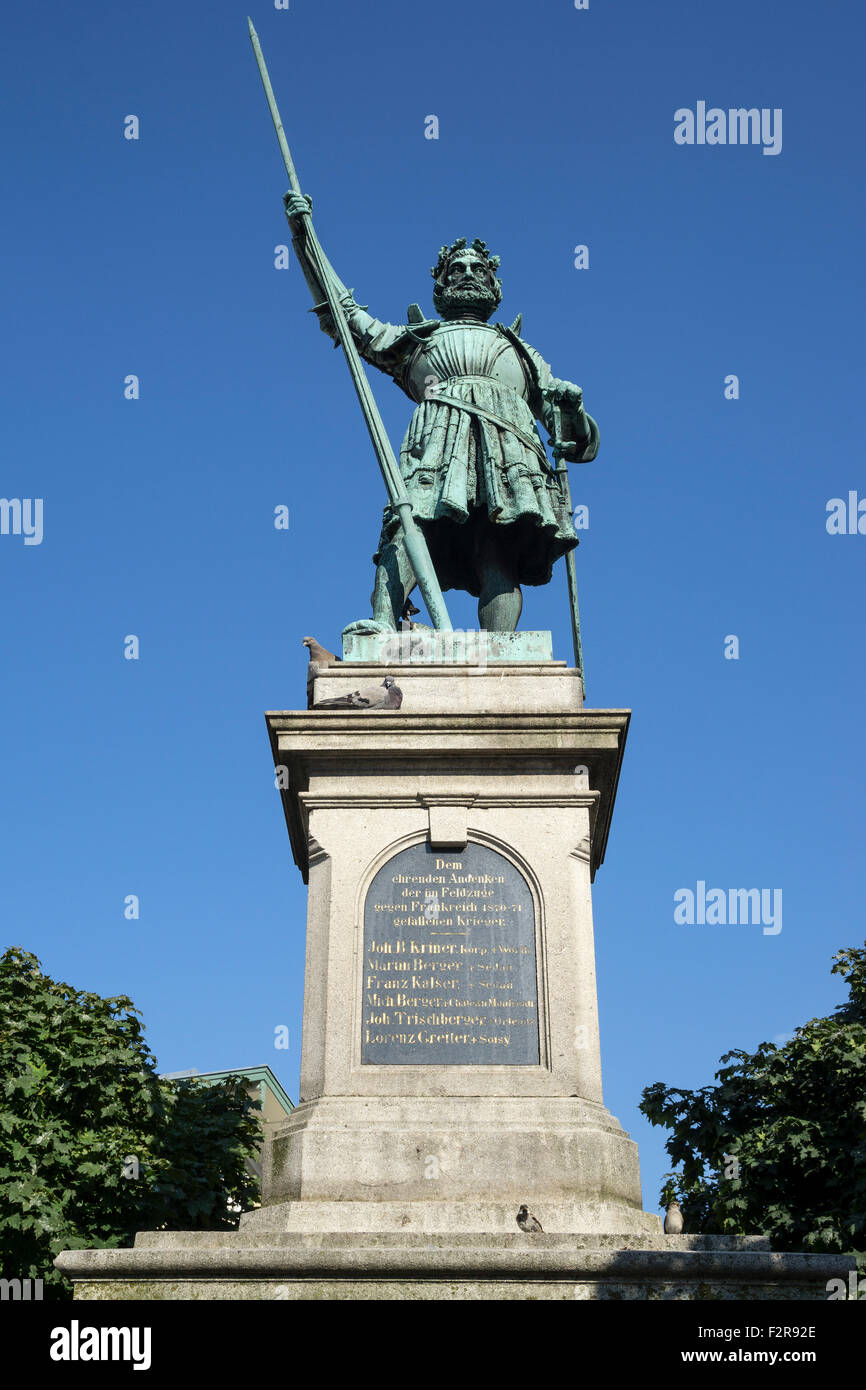 Memorial to war victims, Market Street, Bad Tölz, Upper Bavaria, Bavaria, Germany - Stock Image
