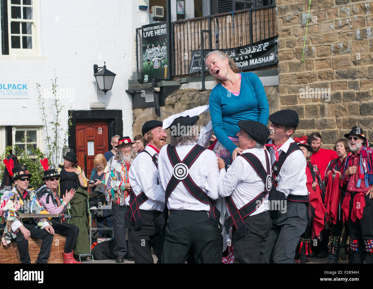 Morris Dancing group  Great Yorkshire Morris perform at Otley Folk Festival 2015, West Yorkshire, England, UK - Stock Image