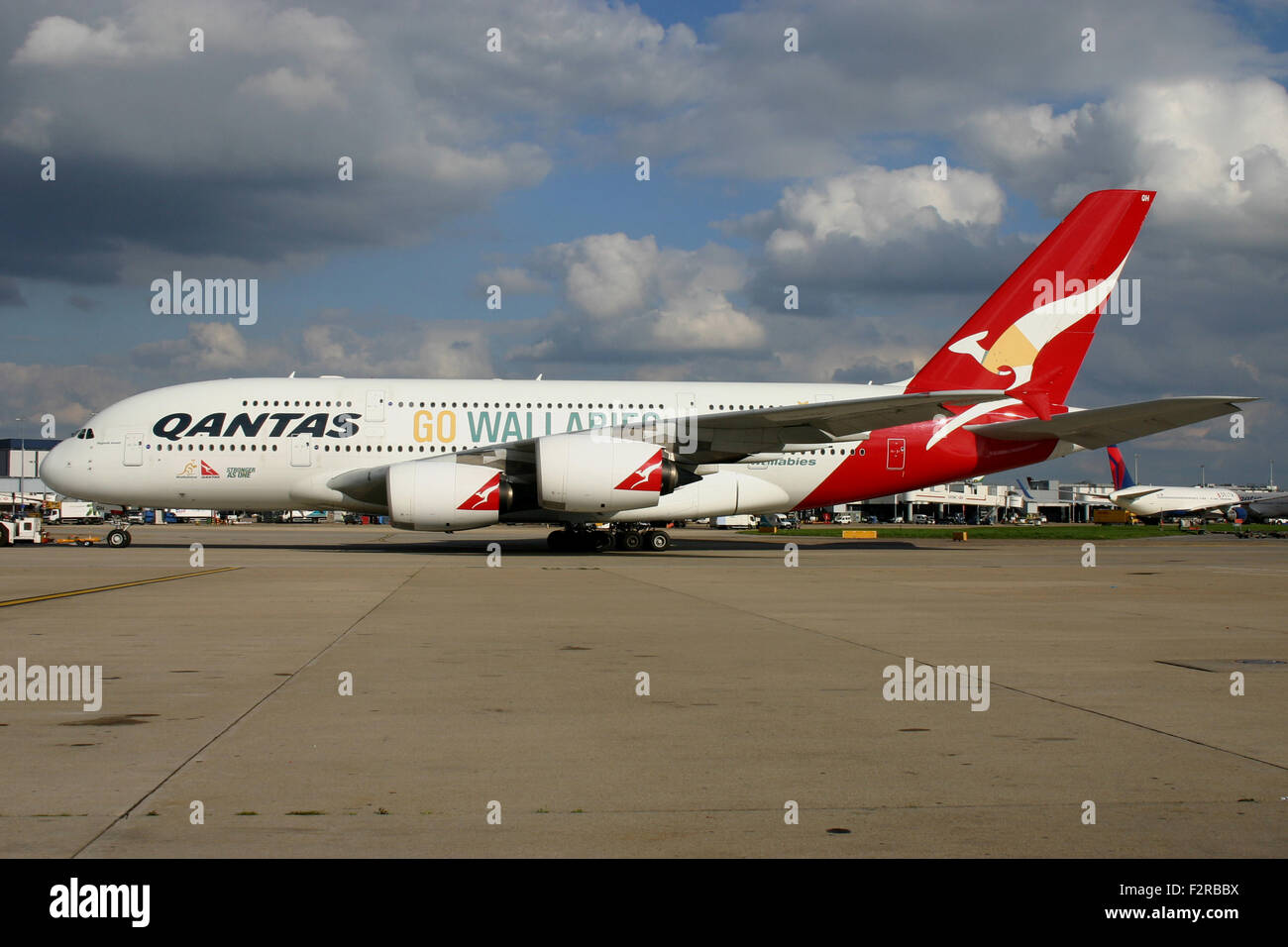 Qantas A380 Wallabies Go Rugby World Cup Stock Photo Alamy