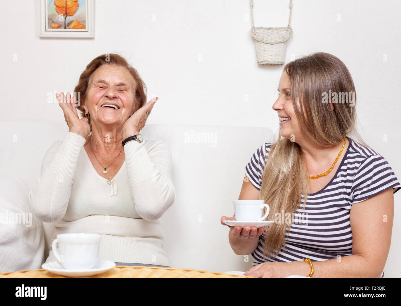 Carer having a cup of tea with an elderly retired woman - Stock Image
