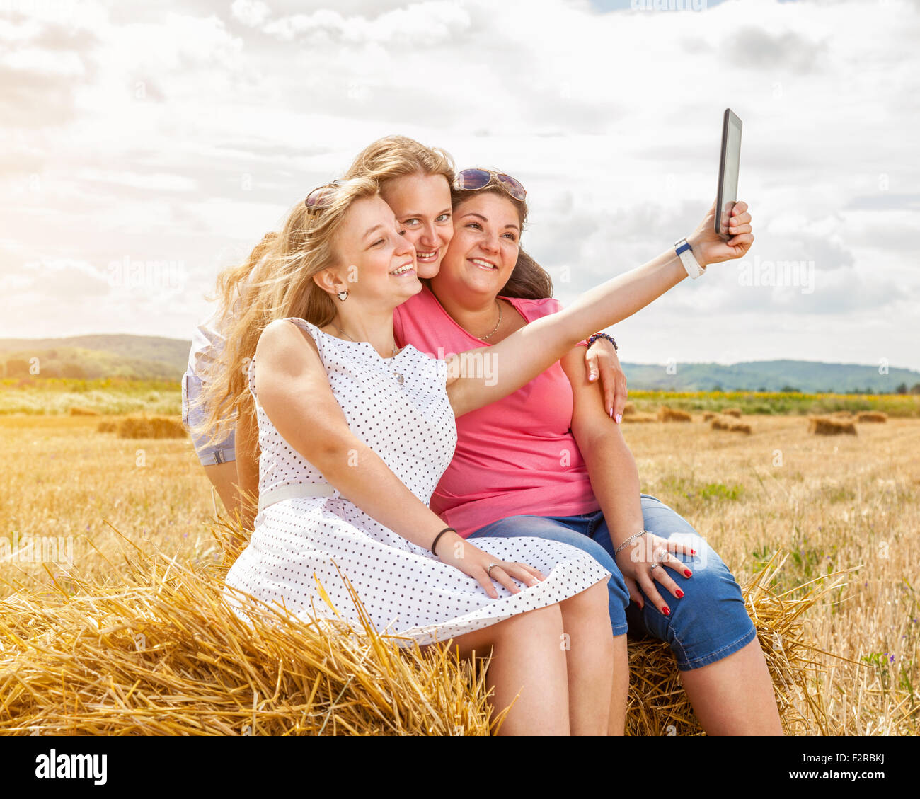 Three Best Friends Taking A Selfie Outdoors Stock Photo 87795222