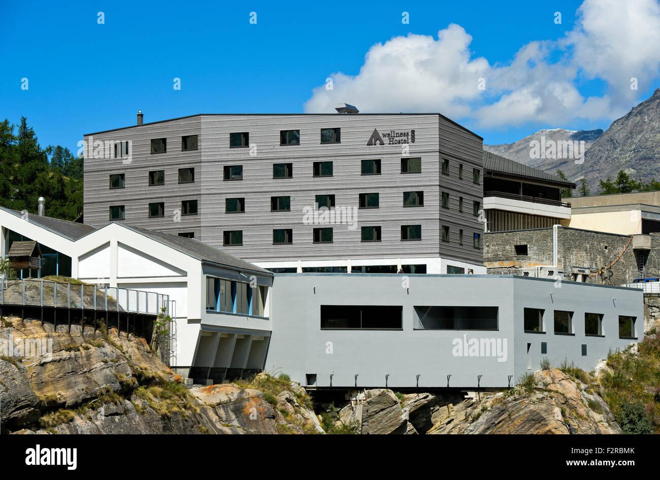 Youth hostel wellnessHostel4000, Saas-Fee, Valais, Switzerland - Stock Image