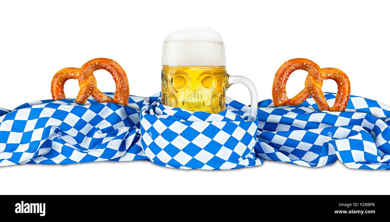 german oktoberfest beer mug and pretzel in bavarian flag - Stock Image