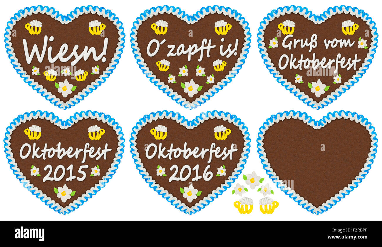 gingerbread heart collection with Oktoberfest related  lettering - Stock Image