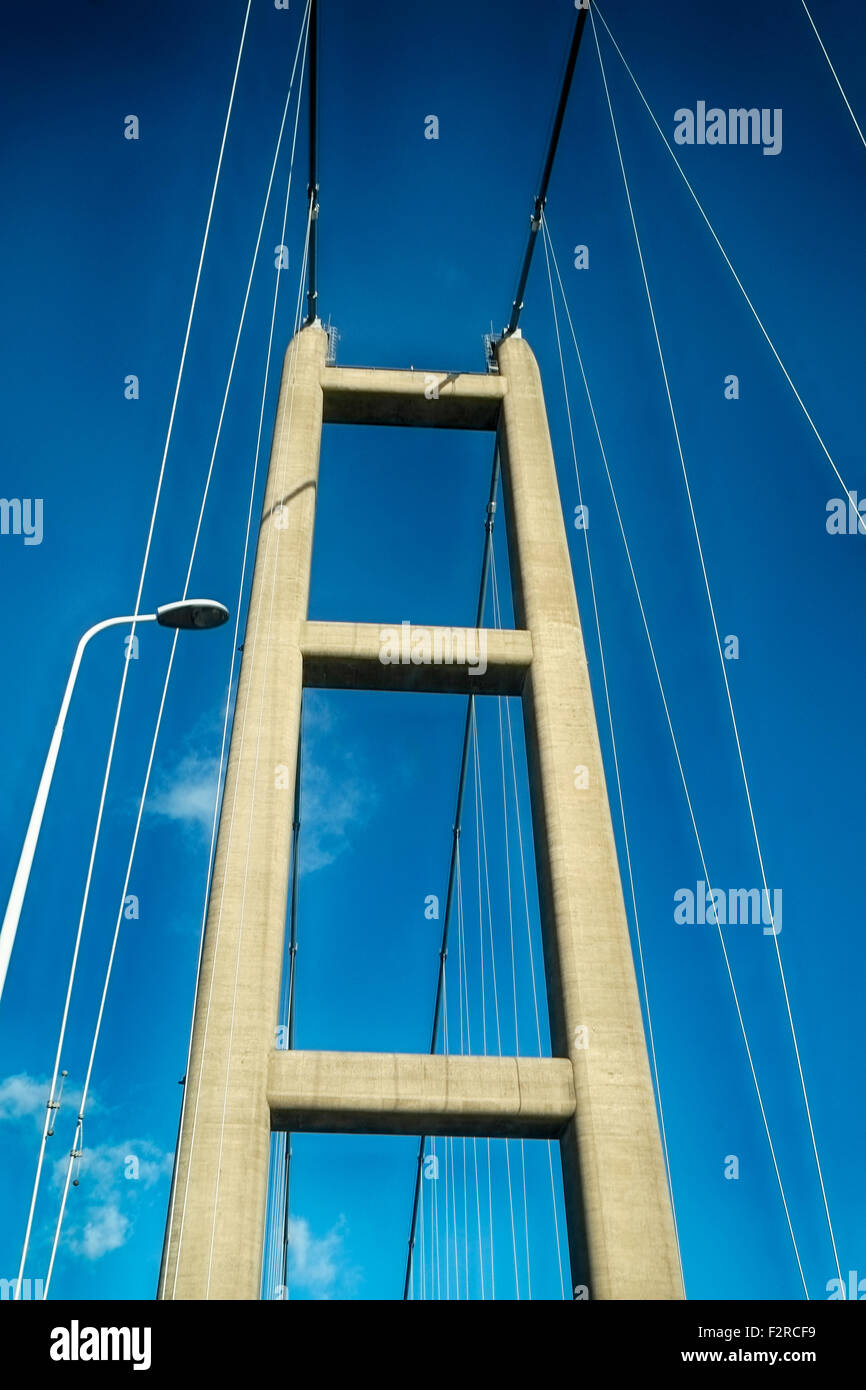 low angle view of one of two concrete bridge supports on The Humber bridge. England Great Britain. - Stock Image