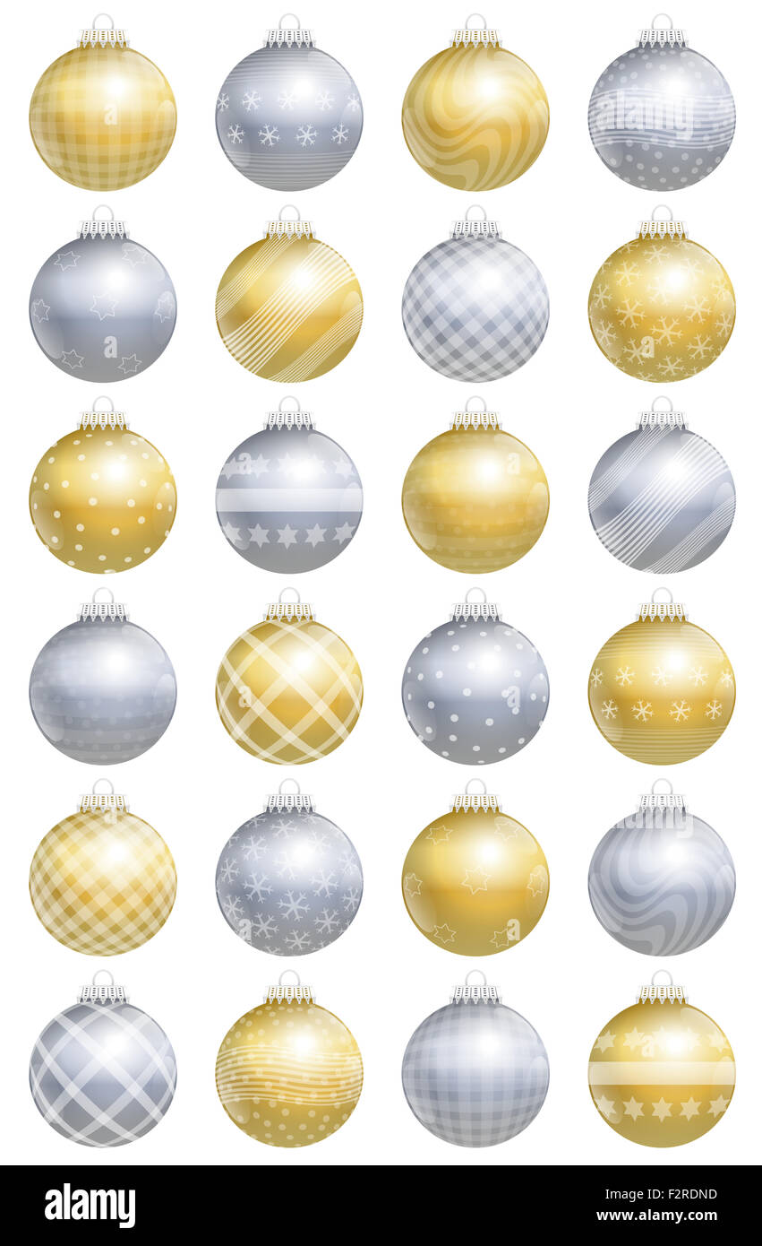 Christmas balls, gold silver, glossy, different ornaments and patterns, twenty-four items, for an advent calendar. - Stock Image