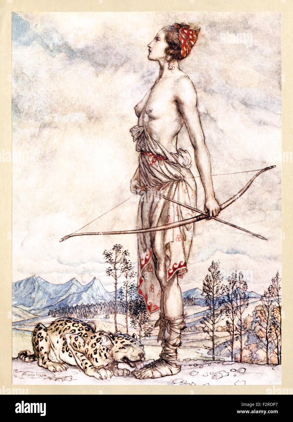 'The Huntress Dian' from 'Comus' by John Milton, illustration by Arthur Rackham (1867-1939). See description for Stock Photo
