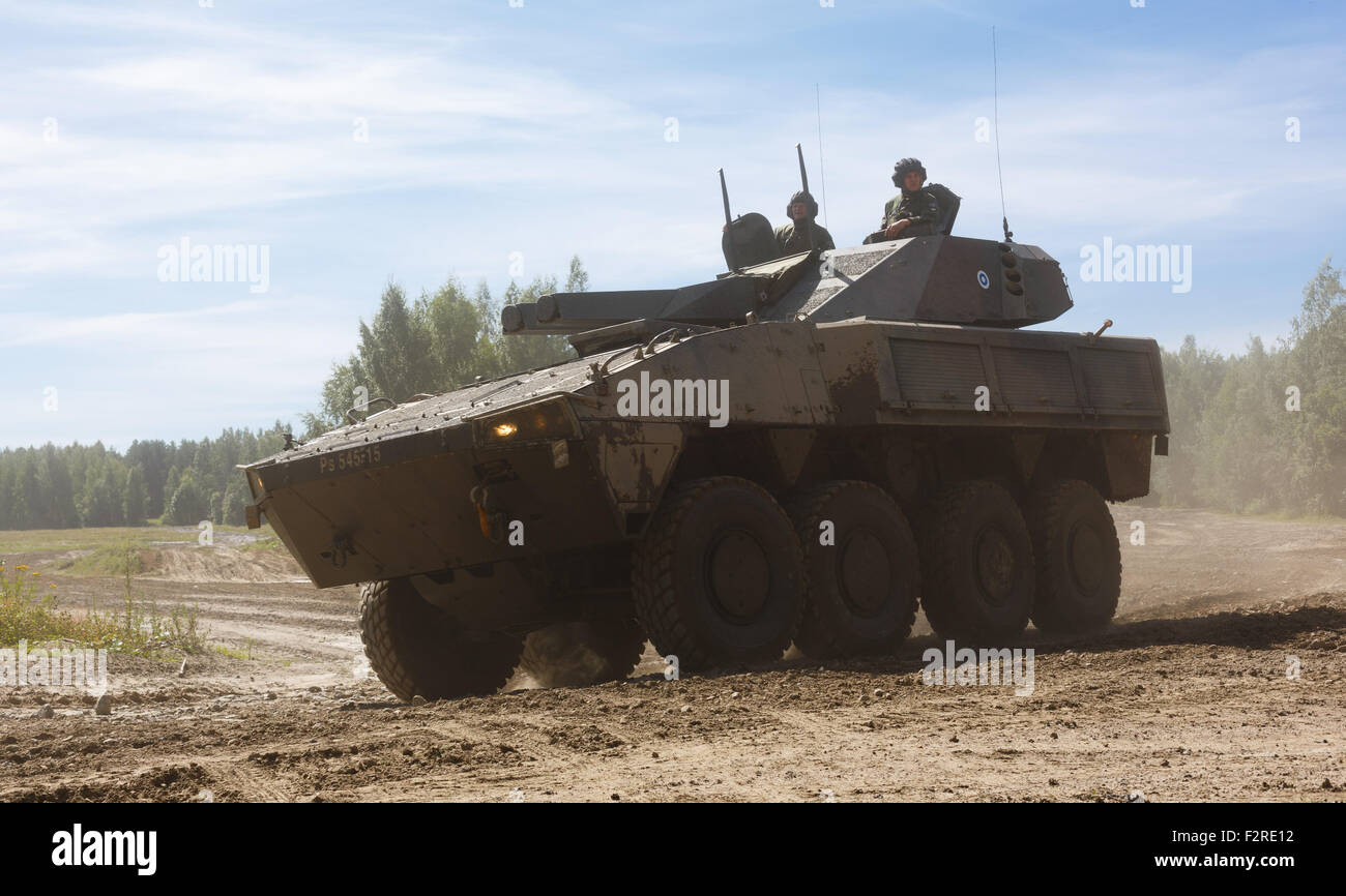 AMOS fire support vehicle of the Finnish Army, with its twin 120 mm heavy mortar capable of 'salvos' mounted - Stock Image