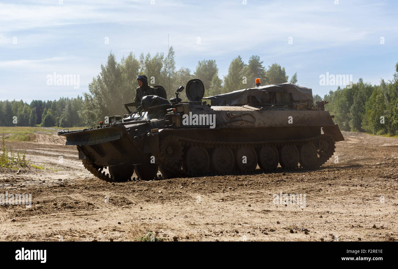 Unarmed Finnish Army MT-LB tracked armored vehicle for multi-purpose transport duties. - Stock Image