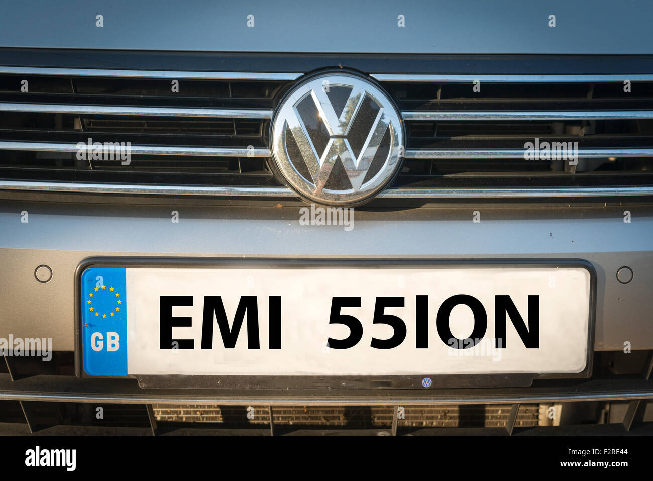 Front of a Volswagen or VW car with the number plate digitally altered to read emissions. Created following the - Stock Image