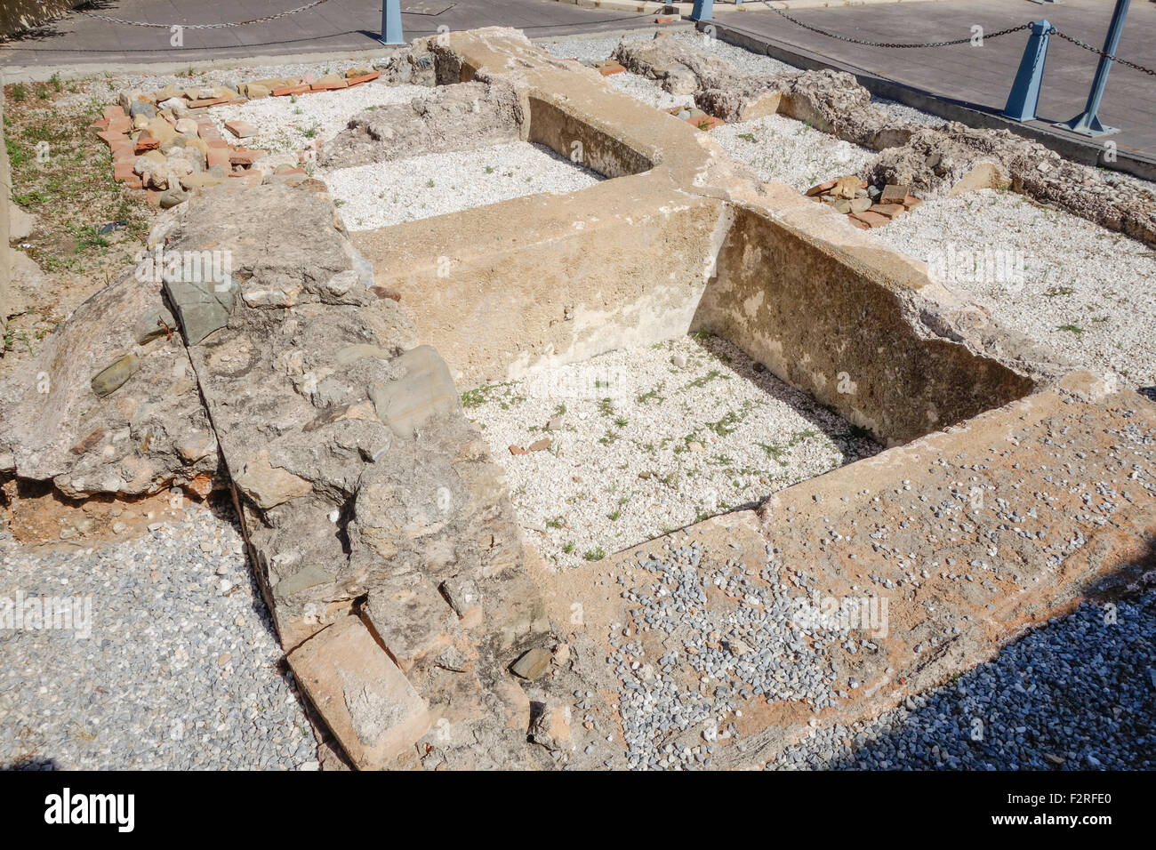 Roman ruins with cisterns for decanting and storing water for thermal baths and patio  Fuengirola, Andalusia, Spain. - Stock Image