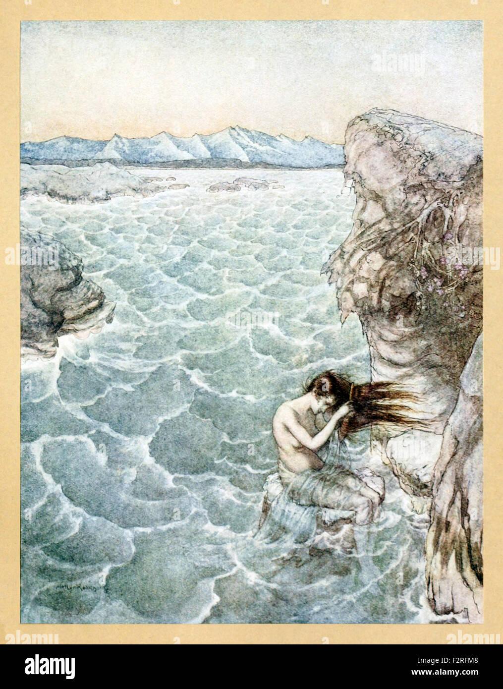 'Fair Ligea' from 'Comus' by John Milton, illustration by Arthur Rackham (1867-1939). See description - Stock Image