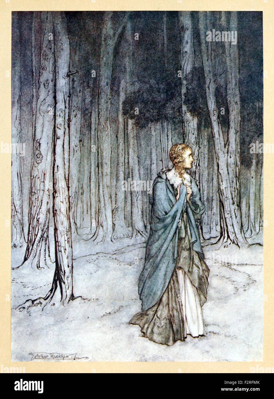 'The Lady enters' from 'Comus' by John Milton, illustration by Arthur Rackham (1867-1939). See description - Stock Image