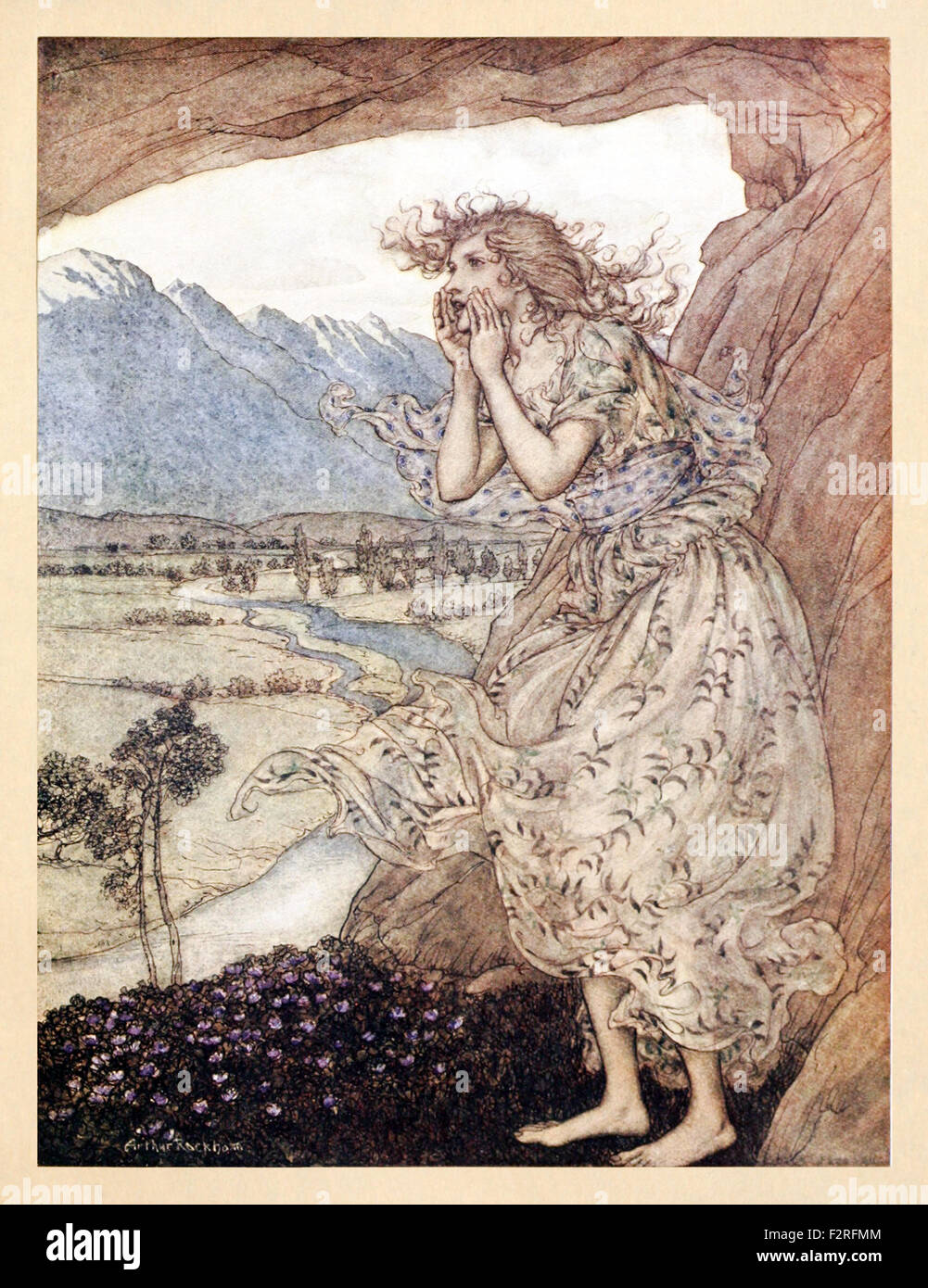 'Sweet Echo' from 'Comus' by John Milton, illustration by Arthur Rackham (1867-1939). See description for more information. Stock Photo