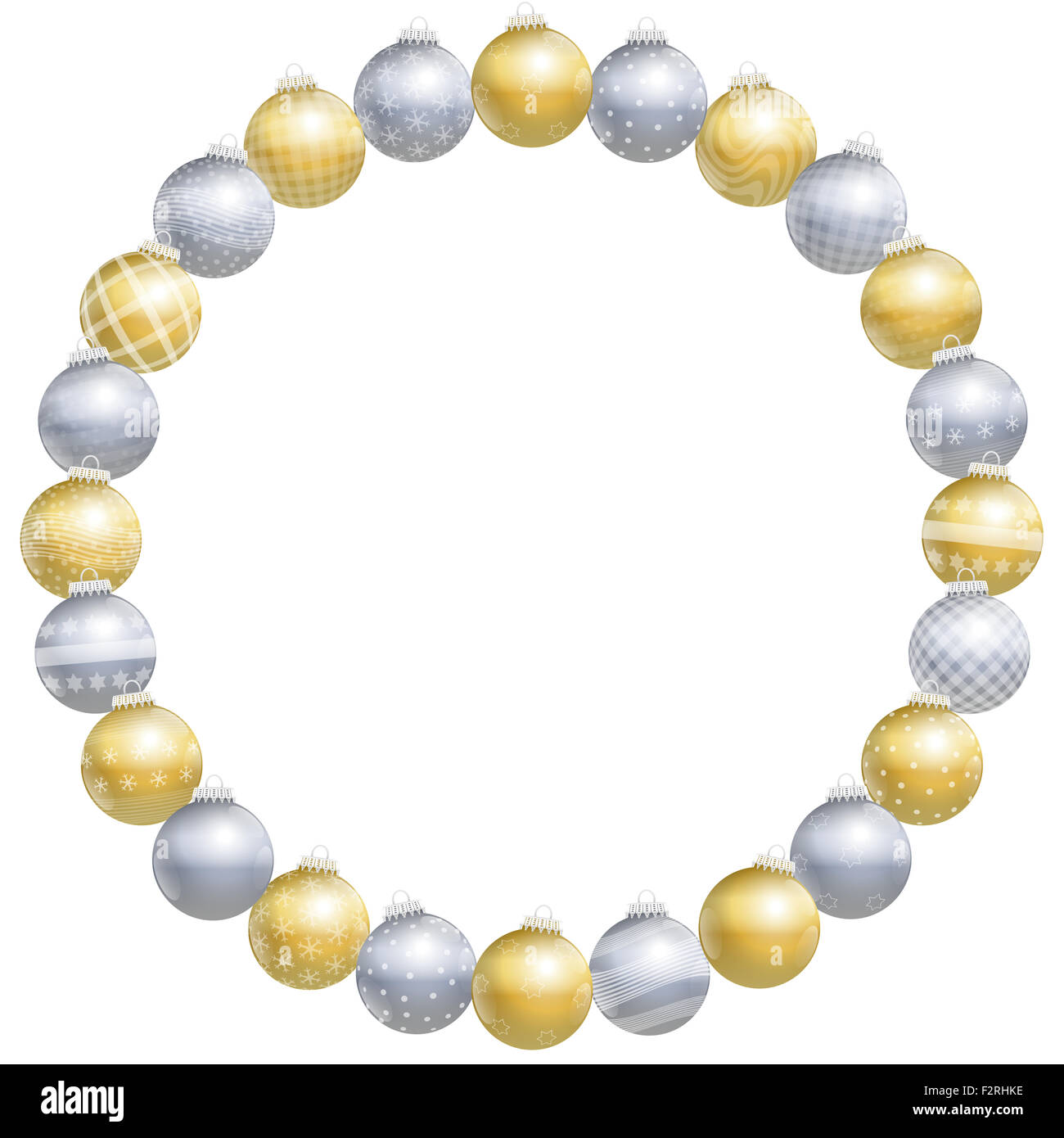 Christmas balls, round frame, gold, silver, different ornaments and patterns, twenty-four items. - Stock Image