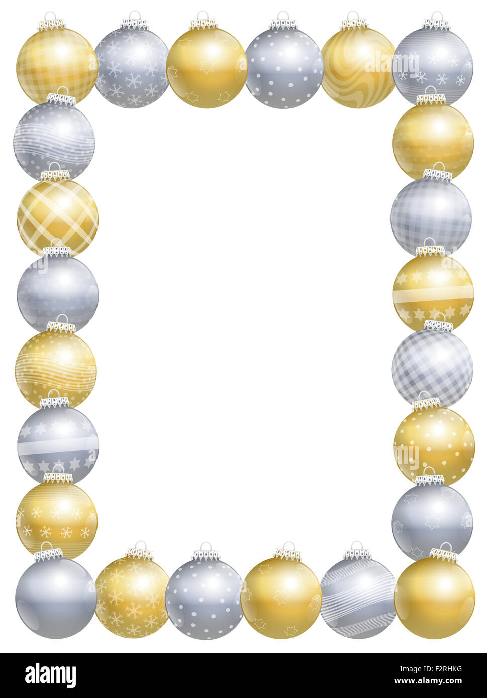 Christmas balls picture frame, gold, silver, different ornaments and patterns, twenty-four items, vertical portrait - Stock Image