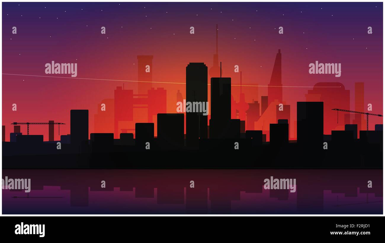 quiet night city scene with stars in the sky, modern buildings. vector abstract background design Stock Vector