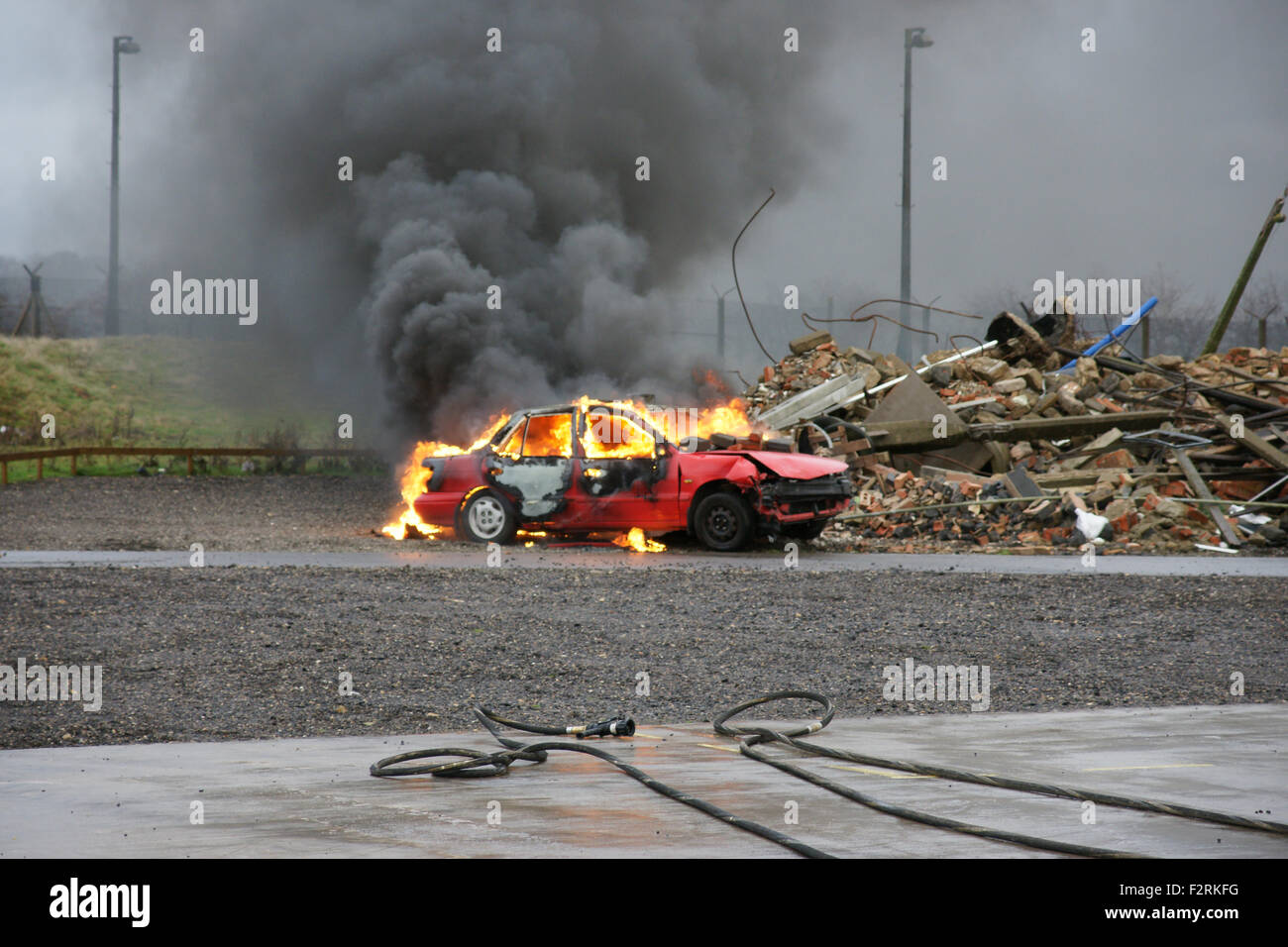 terrorist bomb explosion and destruction, disaster zone - Stock Image