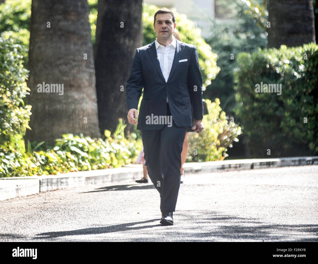 Athens, Greece. 23th Sep, 2015.. Greek Prime Minister Alexis Tsipras exits the presidential palace after swearing - Stock Image