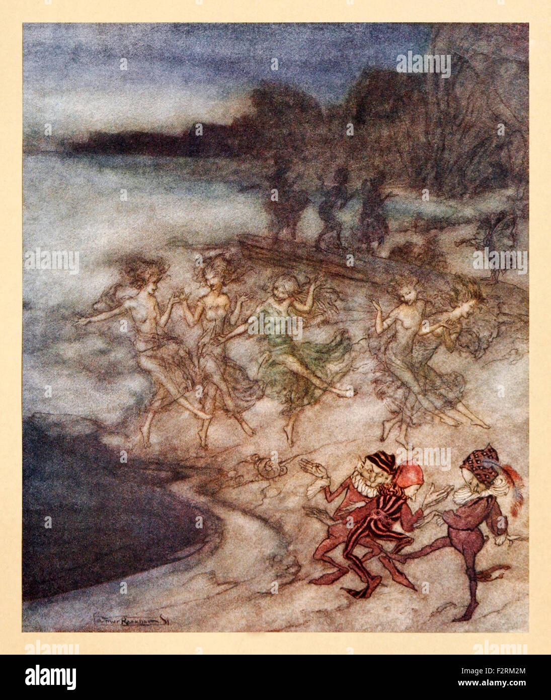 'And on the Tawny Sands and Shelves Trip the pert Fairies and the dapper Elves' from 'Comus' by - Stock Image