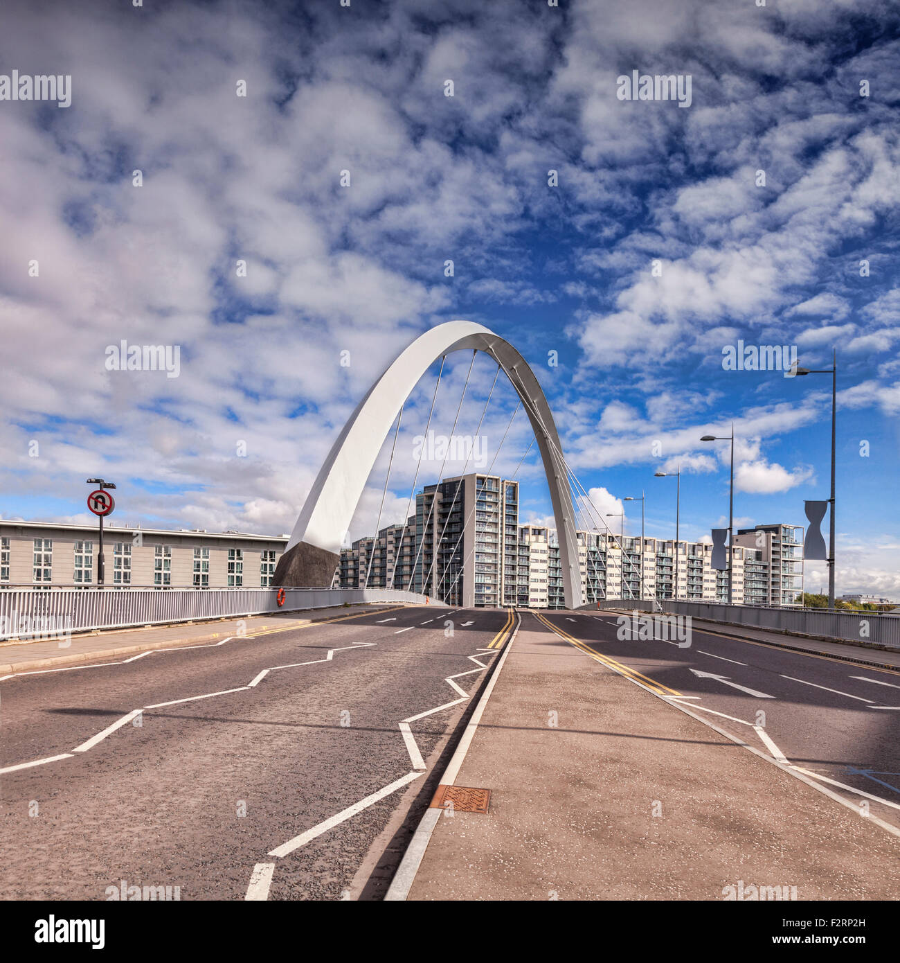 The Clyde Arc, road bridge spanning the River Clyde, Glasgow, Scotland - Stock Image