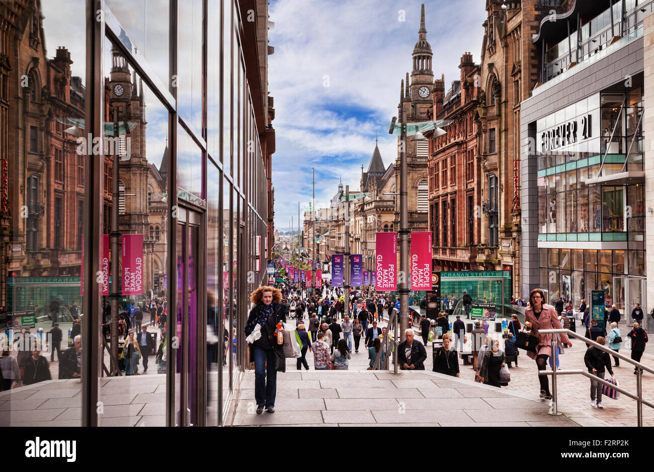 Shopping in Buchanan Street, Glasgow, Scotland, UK. - Stock Image