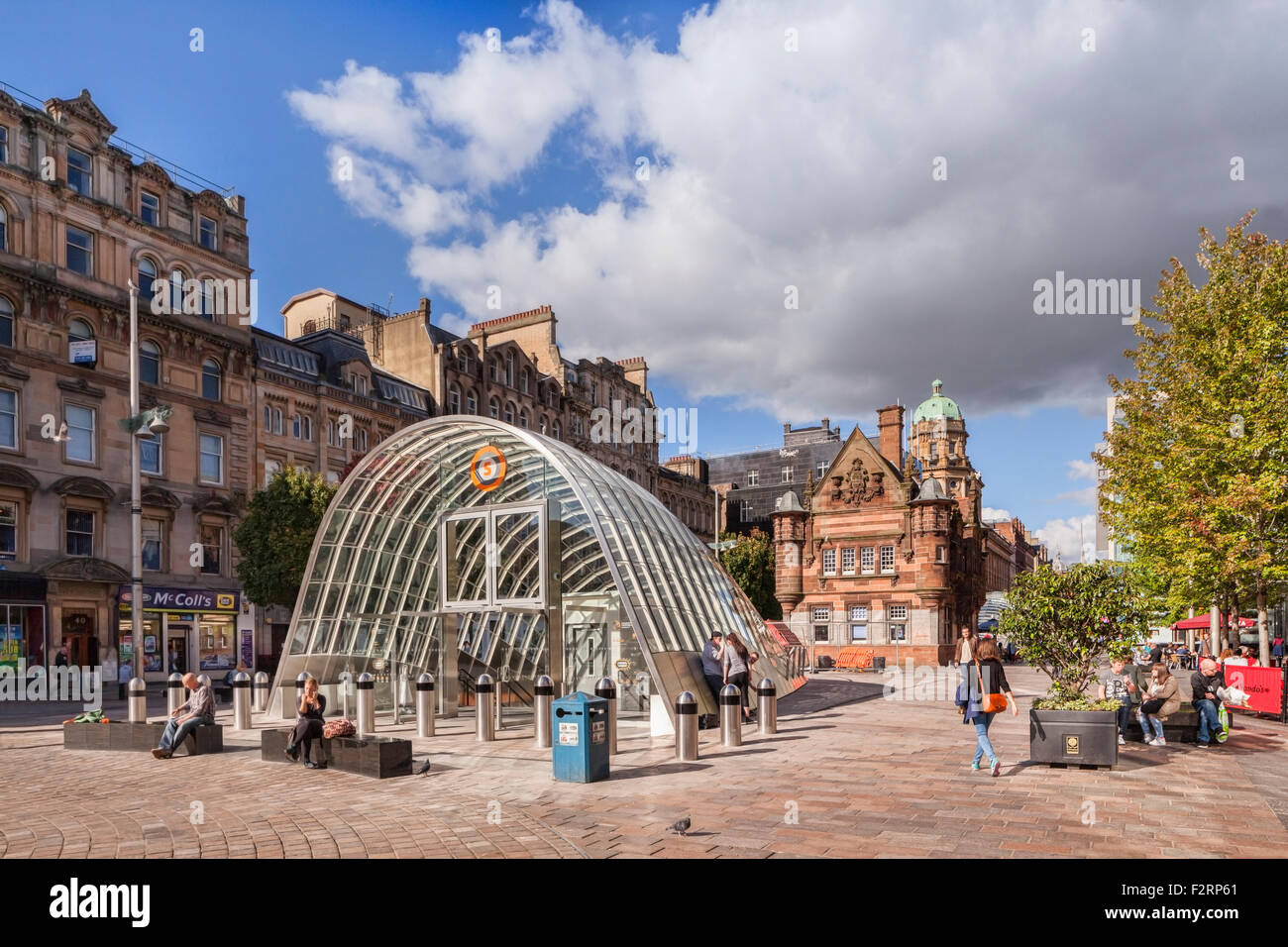 St Enoch Square, with old and new subway entrances, Glasgow, Scotland. - Stock Image