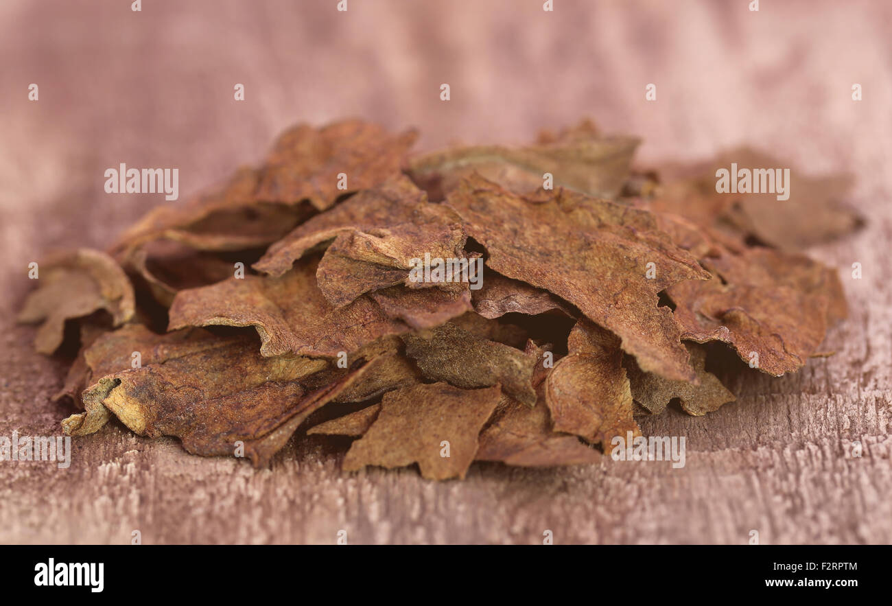 Dry tobacco leaves for making cigarette - Stock Image