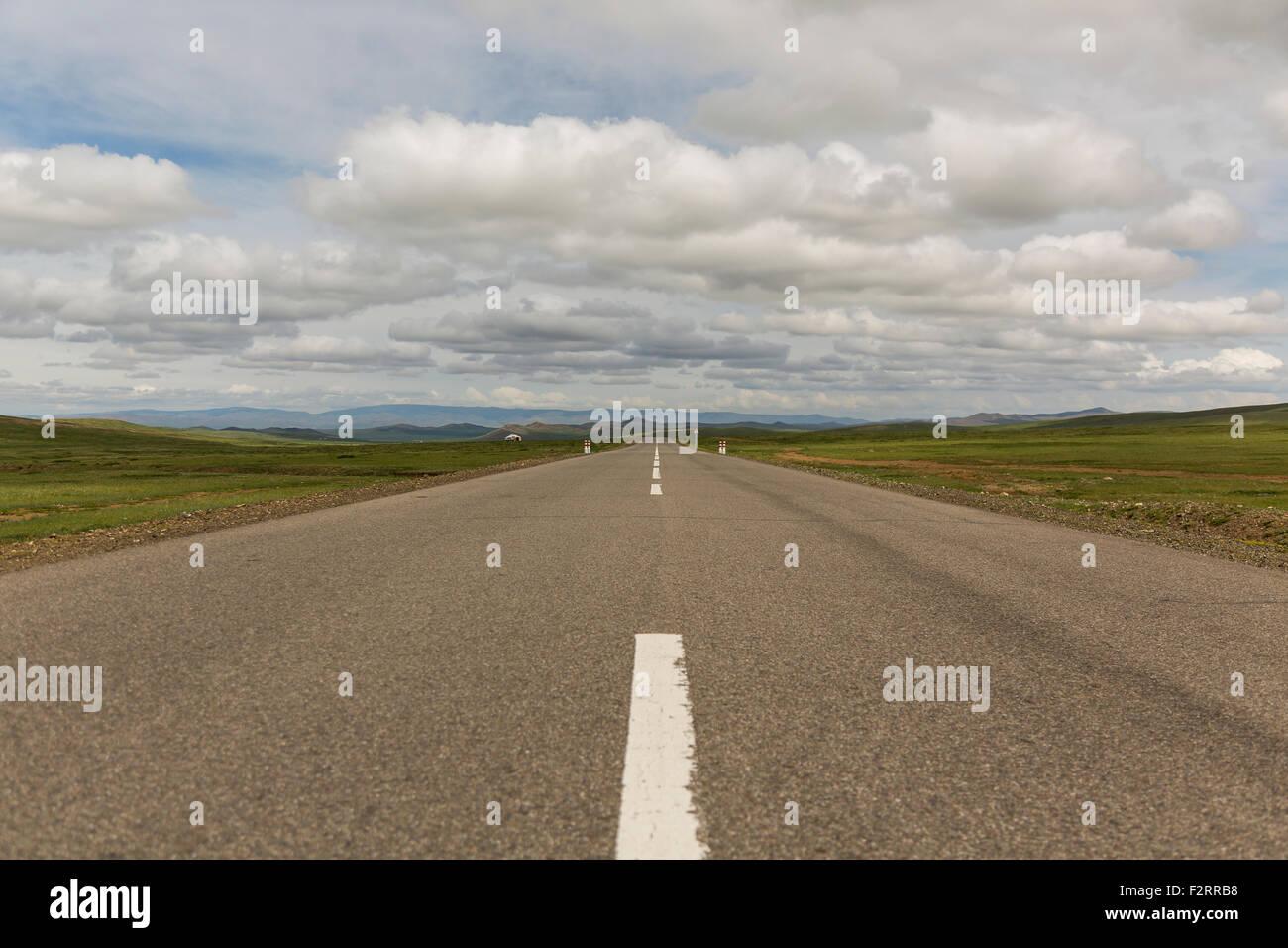 Mongolian Desert Road - Stock Image