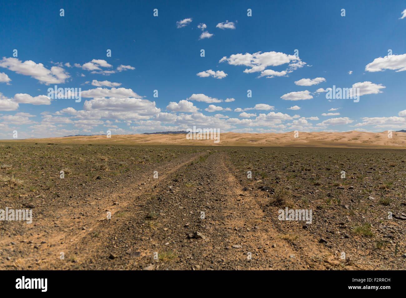 Gobi Desert Road - Stock Image