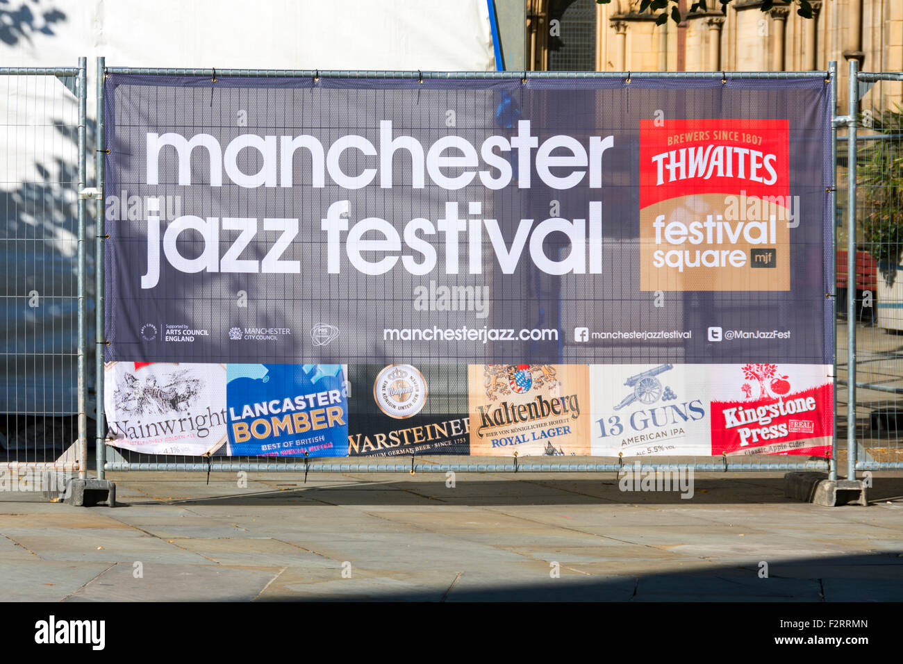 Sign promoting the Manchester Jazz Festival, Albert Square, Manchester, England, UK - Stock Image
