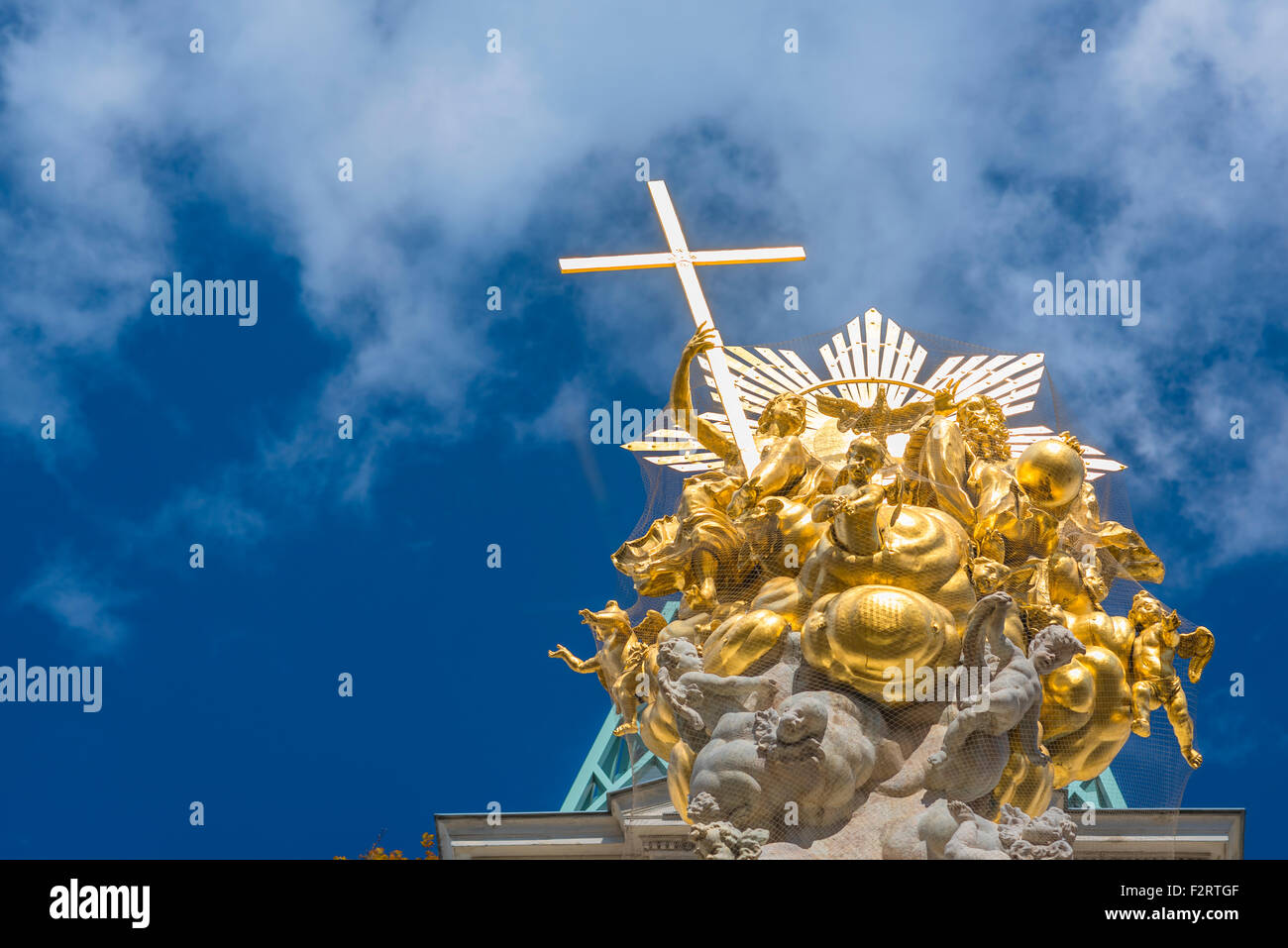Pestsaule Vienna, view of the Baroque top of the Pestsaule column built in the center of Vienna to commemorate the Stock Photo