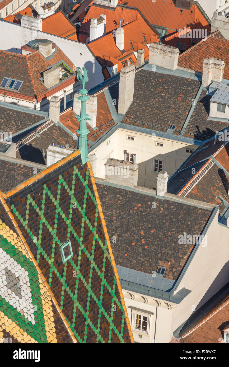 Vienna roof, view of the rooftops of the historical core of Vienna - the Innere Stadt -  viewed from the South Tower - Stock Image