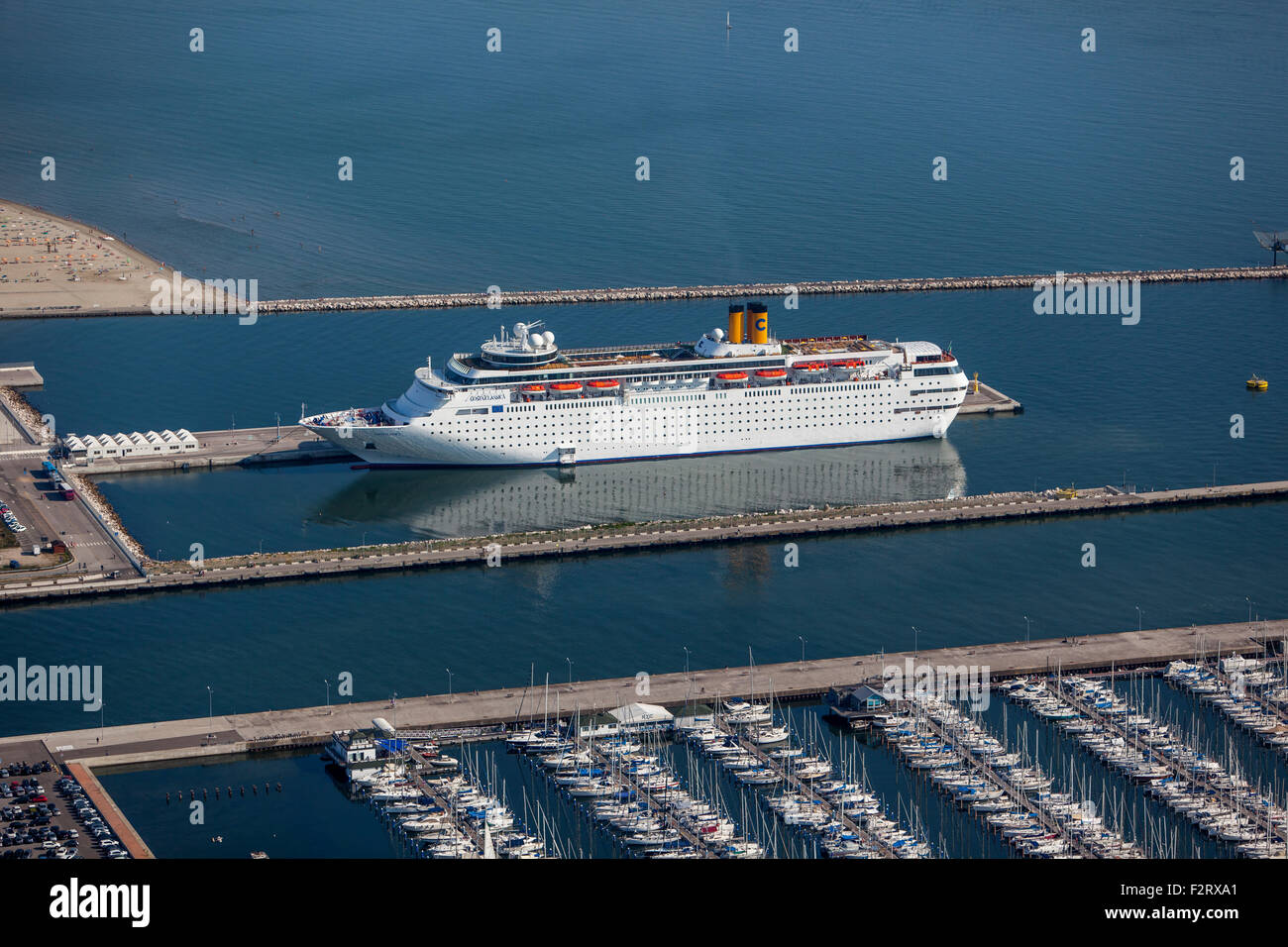 Passenger Ship Moored in Harbor Aerial View - Stock Image