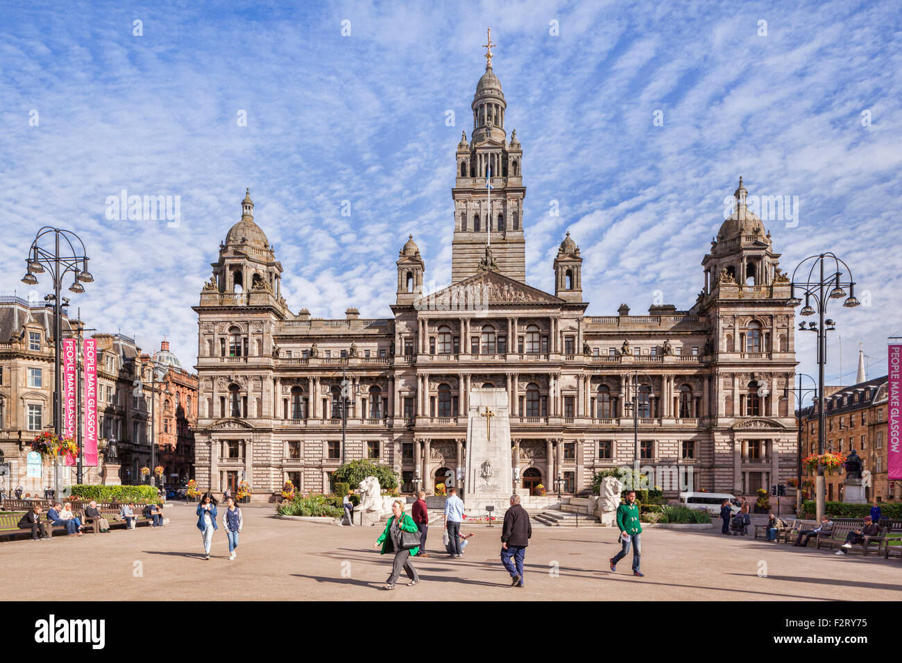 Glasgow City Chambers and George Square in the centre of Glasgow, Scotland. - Stock Image