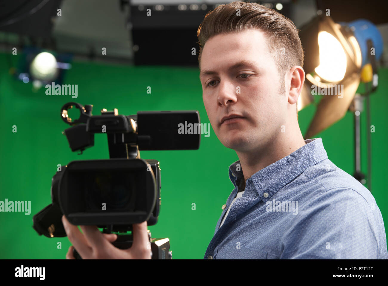 Cameraman Working In Television Studio - Stock Image