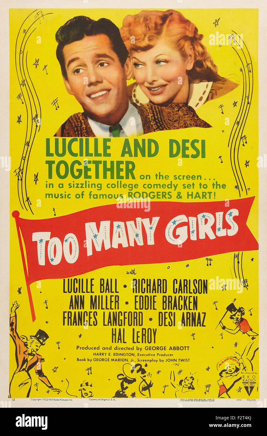 Too Many Girls (1940) - Movie Poster - Stock Image